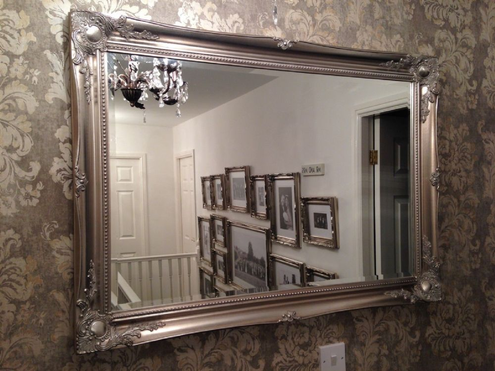 7d8557de20ce Large Antique Silver shabby chic ornate Decorative over mantle Wall Mirror